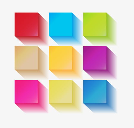 three dimensional squares with different colors on white background Stock Vector - 24166680