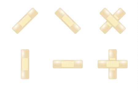 adhesive: conjunto de vendas adhesivas en el fondo blanco Vectores