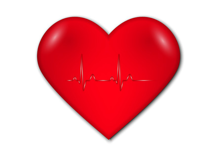 heart rate: heart with graph and heart rate on white background Illustration