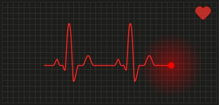 heart rate: red graph with heart rate on black background