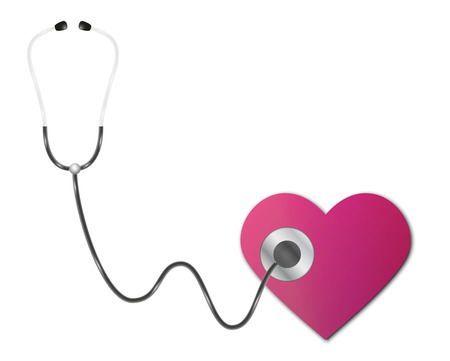 apparatus: medical apparatus - stethoscope and heart on white background