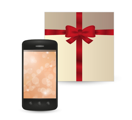 smartphone with orange wallpaper and wrapped gift on white background Vector