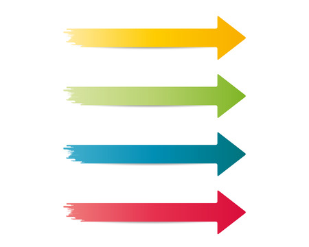 three different color jagged arrows on white background Ilustração