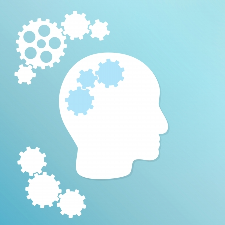 blue background with cogwheel and head with cogwheels Illustration