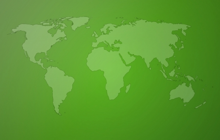 world map with continents on green background Vector