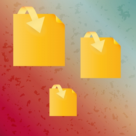 spotted background with different yellow paper and arrow Vector