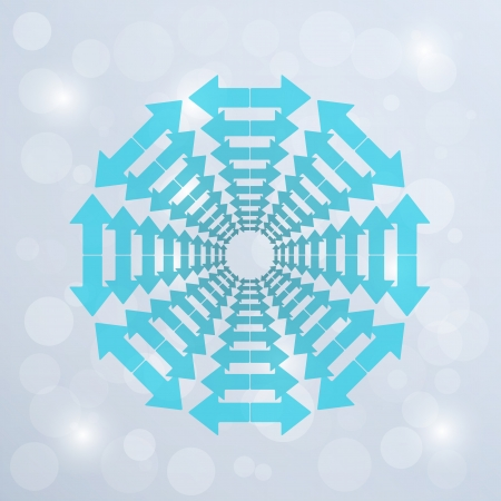 inverse: circle created from blue inverse arrows on blue shining background