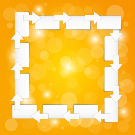 chit: arrows and blank paper blocks on yellow background with shining balls