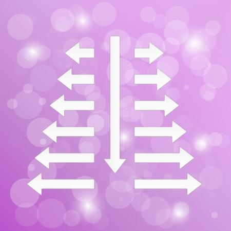 diverging: diverging arrows on violet background with shining balls Illustration