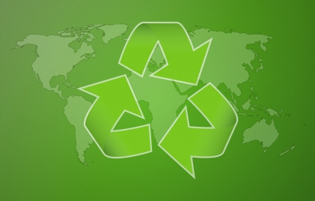world map with symbol of recycling on green background Vector