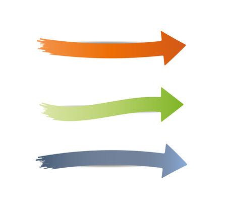 drie verschillende puntige en ronde pijlen op witte achtergrond