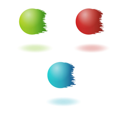 jagged: color jagged balls in red green and blue color on white background