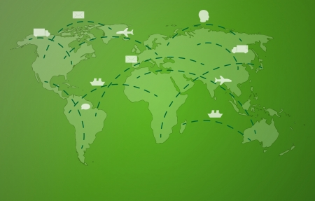 graticule: world map with symbols of plane, car, ship, head and envelope on green background