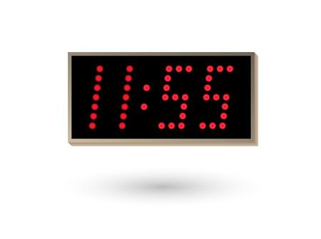 five minutes before twelve on digital clock Vector