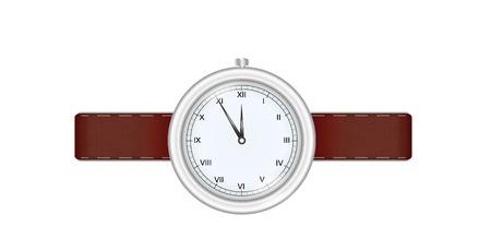 cintur�n de cuero: Reloj de plata con correa de cuero aisladas sobre fondo blanco Vectores