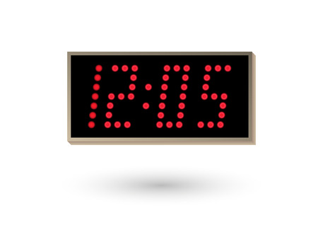 five minutes after twelve on digital clock Vector