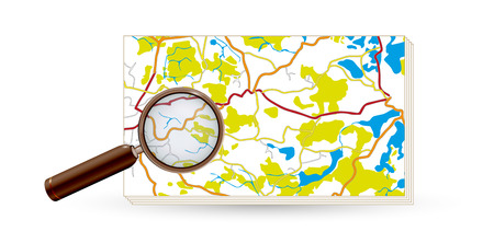 paper map and magnifying glass with streets and rivers on white background