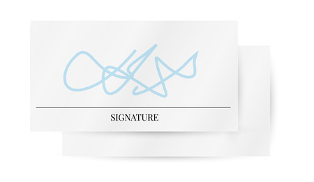 autographing: two papers with signature on white background