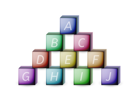 cubes and letters with different colors on white background Stock Vector - 25193064