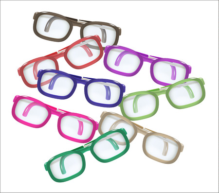 disarrangement: mess of color glasses on white background