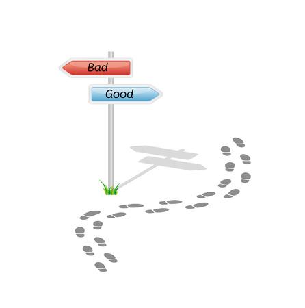 悪い面と良い方法と白い背景の上の足跡と標識