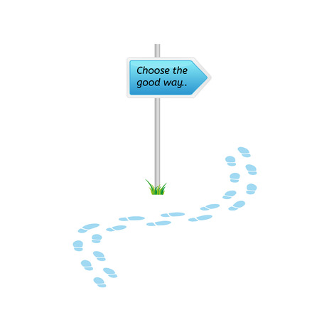 right vs wrong: signs with choose the good way and blue footprints on white background