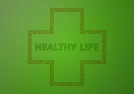 stamp with healthy life on green gradient background Illustration