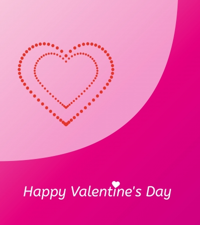 happy couple white background: pink gift card and happy valentines day with dotted heart