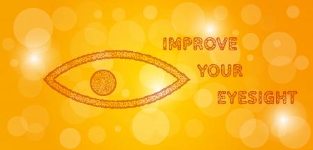 sehkraft: verbessern Sie Ihre Sehkraft Stempel auf gelben Farbverlauf gl�nzend Hintergrund