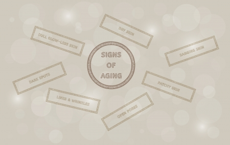 signs of aging stamp and dry skin, sagging skin, patchy skin, open pores, lines, wrinkles, dark spots, dull glow-less skin Vector