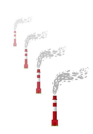 toxic emissions: chimneys with red and white color and gray smoke on white background Illustration