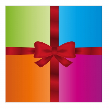 wrapped gift or gift card with four color parts and red ribbon on white background