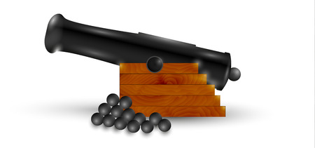 black cannon and balls with shadow on white background Vector