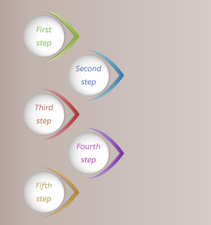 five color steps connected with color dashed lines on beige gradient background Vector