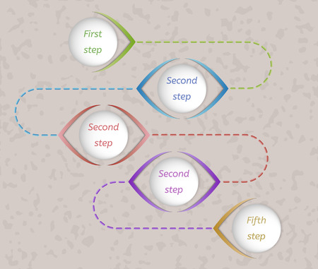 five color steps connected with color dashed lines on spotty background Vector