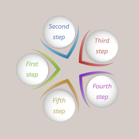 five color steps with arrows directed to center on beige background Vector