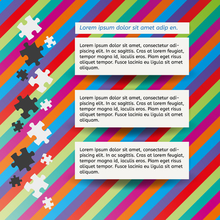 three color notes and puzzle pieces on color lined background Vector