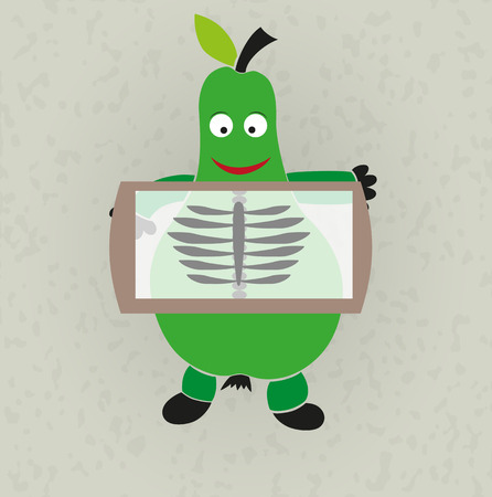 rentgen: funny illustration - pear and rentgen showing ribs