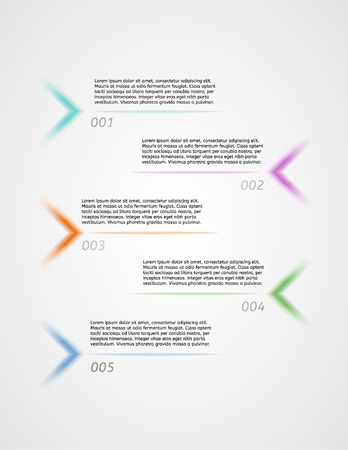 infographics - five color options with arrows and sample text as a five different options or steps Vector