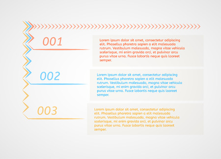 infographics - three color options with arrows and sample text as a three different options or steps Vector