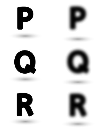 sharp and unsharp alphabet letters with shadow  font. Sharp as a symbol of good sight and unsharp as a symbol for bad eyes and needed of glasses. Vector