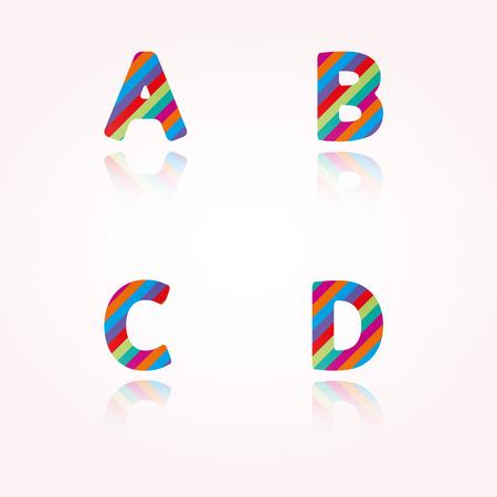 joyous: las letras del alfabeto con rayas de colores brillantes y la reflexi�n para la fiesta de cumplea�os, celebraci�n o cualquier gozosa de texto divertido