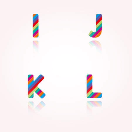 alphabet letters with bright color stripes and reflection for birthday party, celebration or any joyous of funny text Vector