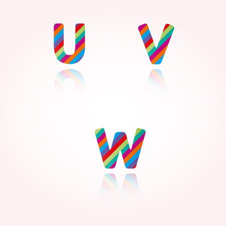 joyous: las letras del alfabeto con rayas de color brillante y la reflexi�n para la fiesta de cumplea�os, celebraci�n o cualquier gozosa de texto divertido Vectores