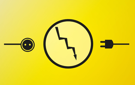 electricity symbols in black color on yellow background and flash Vector