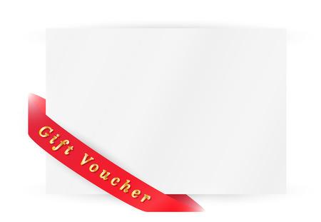 Nastro rosso con buono regalo e carta su sfondo bianco Archivio Fotografico - 26458073