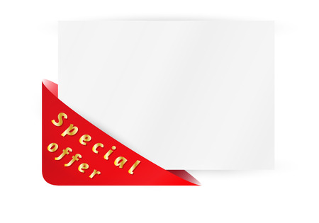 empty pocket: red triangle pocket with special offer and paper on white background