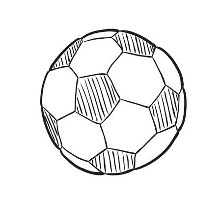 esbozo de la pelota de fútbol sobre fondo blanco, aislados Vectores