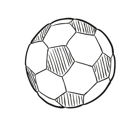 sketch of the football ball on white background, isolated Ilustração