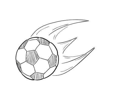 sketch of the flying football ball with flames behind on white background, isolated Vector